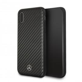 Coque iPhone X Mercedes Benz aspect carbone noir