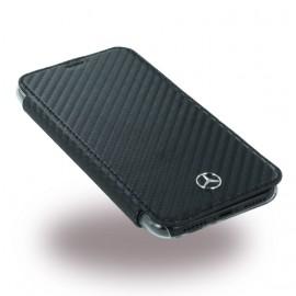 Etui iPhone X Mercedes folio carbone noir