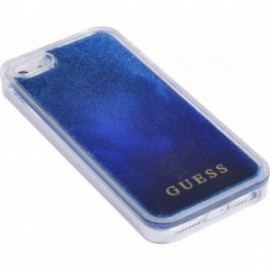 Coque iPhone 5/5S/SE rigide liquide bleue avec paillettes bleues Guess