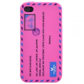 Coque iphone 4&4s motif lettre postale rose