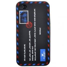 Coque iphone 4&4s motif lettre postale noir