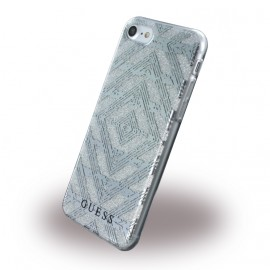 Coque iPhone 7  / iphone 8 Guess 3D Effect Aztec Tribal Silver