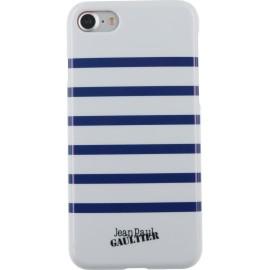 Coque iPhone 8 Jean Paul Gaultier Marinière blanche et bleue