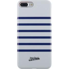 Coque iPhone 8 plus Jean Paul Gaultier Marinière blanche et bleue