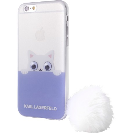 Coque iPhone 8 Karl Largerfeld Choupette semi-rigide transparente et mauve
