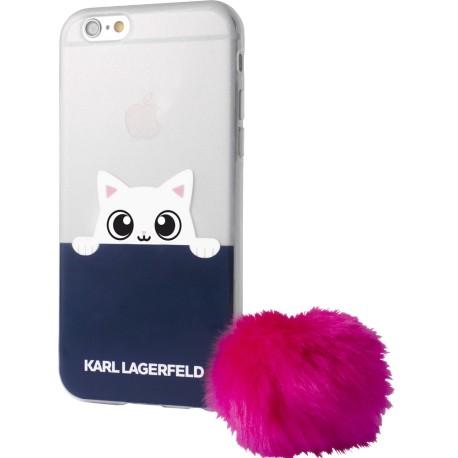 Coque iPhone 8 Karl Largerfeld Choupette semi-rigide transparente et bleue