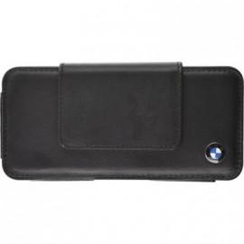 Etui taille S horizontal BMW en cuir noir avec attache ceinture