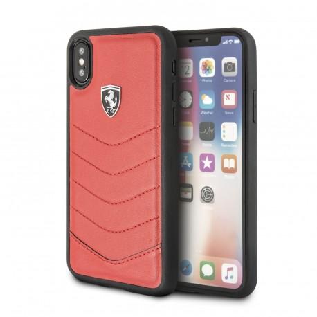 Coque Apple iPhone X Ferrari Heritage cuir rouge