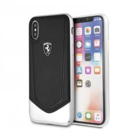 Coque Apple iPhone X Ferrari Heritage cuir noir et alu
