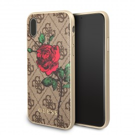 Coque iPhone X Guess marron motif 4g avec rose