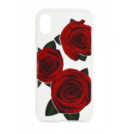 Coque iPhone X Guess roses rouges
