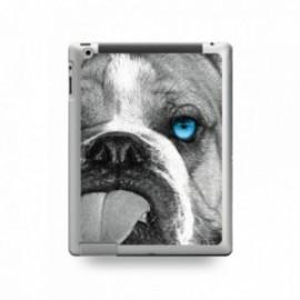 Coque IPAD 2/3/4 motif Bulldog aux Yeux Bleus