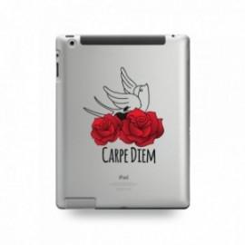 Coque IPAD 2/3/4 motif Carpe Diem Rose Rouge Et Hirondelle