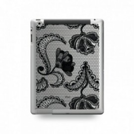 Coque IPAD 2/3/4 motif Dentelle Fleurs Noire