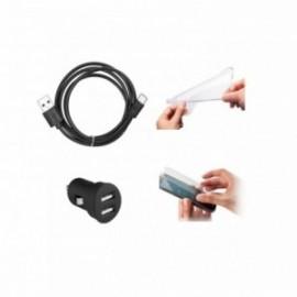 Coque Huawei P Smart silicone + Film verre trempé + chargeur allume cigare