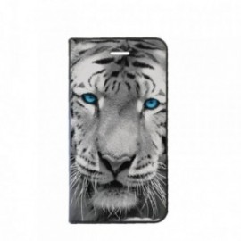Etui Iphone 5C Folio motif Tigre aux Yeux bleus