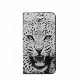 Etui Motorola MOTO G5 Folio motif Leopard aux Yeux bleus