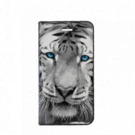 Etui Motorola E4 PLUS Folio motif Tigre aux Yeux bleus