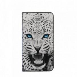 Etui Motorola E4 PLUS Folio motif Leopard aux Yeux bleus