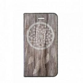 Etui Motorola E4 PLUS Folio motif Attrape rêve bois