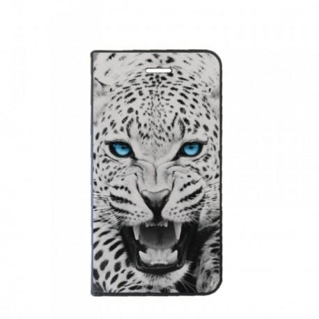 Etui LG Q6 Folio motif Leopard aux Yeux bleus