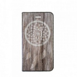 Etui LG Q6 Folio motif Attrape rêve bois