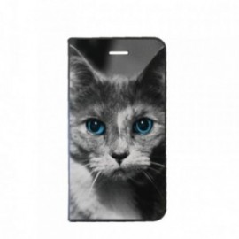 Etui IPhone X Folio motif Chat aux Yeux bleus