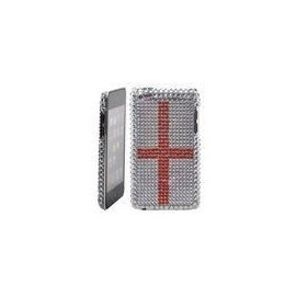 Coque iPod Touch 4 Strass grise croix rouge