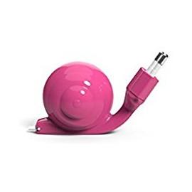 Chargeur Lightning MFI Escargot rose avec câble rétractable