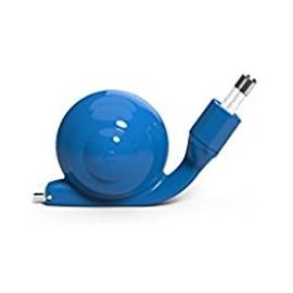Chargeur Micro usb Escargot bleu avec câble rétractable