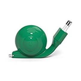 Chargeur Micro usb Escargot vert avec câble rétractable