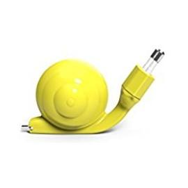 Chargeur Micro usb Escargot jaune avec câble rétractable