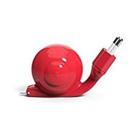 Chargeur Micro usb type C Escargot rouge avec câble rétractable