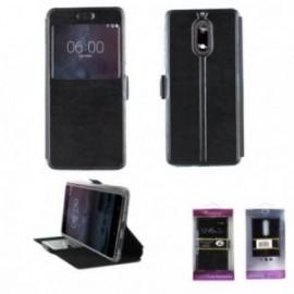 Etui Nokia 7 plus folio stand fenêtre noir