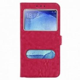 Etui Huawei P20 lite folio double fenêtre rose