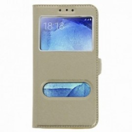 Etui Huawei Mate 10 lite folio double fenêtre or