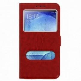 Etui Huawei Mate 10 lite folio double fenêtre rouge