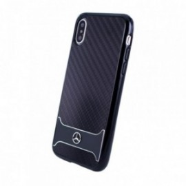 Coque iPhone X Mercedes carbone aluminium noir