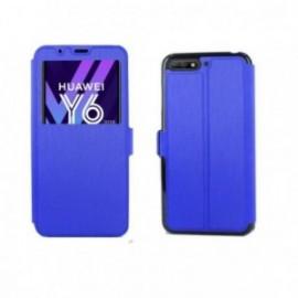 Etui Huawei Y6 2018 Book vision bleu