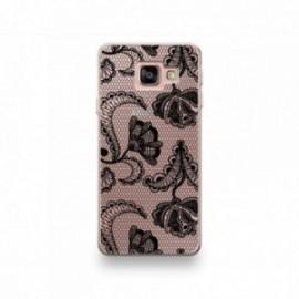 Coque LG G7 motif Dentelle Fleurs Noire