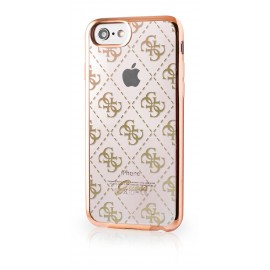 Coque iPhone 8 Guess tpu motif 4G Gold