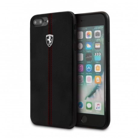 Coque iphone 6 /  6s Ferrari Heritage contrasted stripe cuir noir