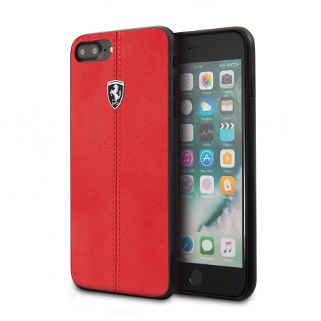 Coque iphone 8 Ferrari Heritage contrasted stripe cuir rouge