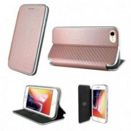 Etui Iphone 7/8 folio imitation carbone rose