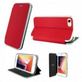 Etui Iphone 7/8 folio imitation carbone rouge