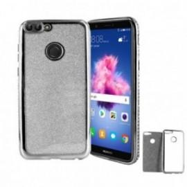 Coque Huawei P Smart minigel paillettes argent