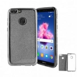 Coque Huawei P Smart minigel paillettes noire
