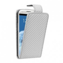 Etui Samsung Galaxy S3 i9300 aspect carbone blanc