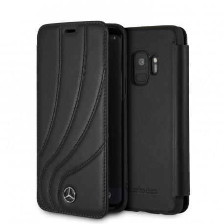 Etui Samsung S9 Mercedes Benz New Organic II Folio cuir noir