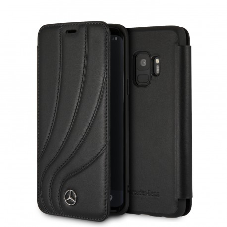 Etui Samsung S9 Plus Mercedes Benz New Organic II Folio cuir noir